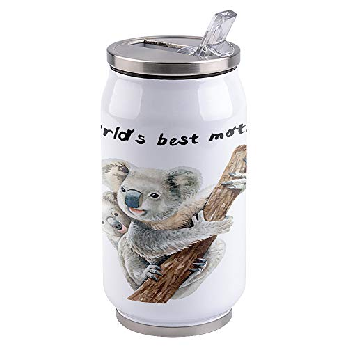 10 oz Vacuum Insulated Stainless Steel Tumblers with Lid and Straw Cute Koala Mother and Baby Double Wall Tumbler Reusable Cups Travel Mug for Sports Camping Driving School, World's Best Mother