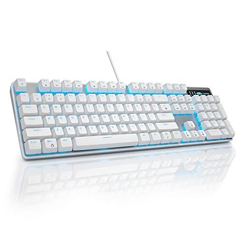 MageGee Gaming-Tastatur, USB, kabelgebunden, mechanische Sturmtastatur, verstellbare Hintergrundbeleuchtung, spritzwassergeschützt, ideal für PC/Laptop/Mac-Spiele (weiß)
