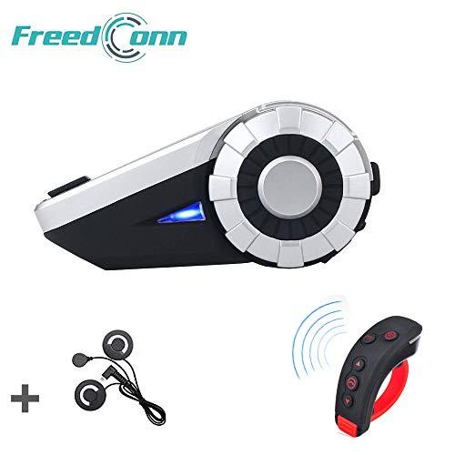 FreedConn T-Rex Casco de la Motocicleta Intercomunicador Bluetooth, Sistema de intercomunicación de Grupo de dúplex Full Duplex para 8 pasajeros/Rango 1500m (1 Pieza Cable Suave)