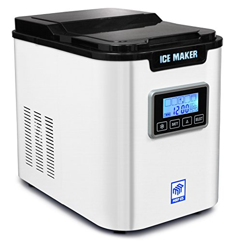 MRP US Counter Top Ice Maker Machine, Portable, Stainless Steel, 2 Quart Water Tank, Get Ice in as quick as 10 Min IC703 With 3 Selectable Cube Size (White)
