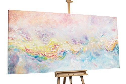 KunstLoft® XXL Gemälde 'Like a Rainbow' 200x100cm   original handgemalte Bilder   Abstrakt Pink Regenbogen XXL   Leinwand-Bild Ölgemälde einteilig groß   Modernes Kunst Ölbild