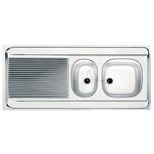 Evier à poser SPIT STX751 140x60 cm, pour lave-vaisselle, 1 cuve et demi 1 égouttoir, réversible, vidage manuel, inox Ré