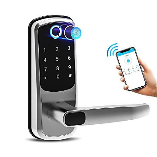 Smart Lock,Catchface Fingerprint Door Lock Bluetooth Front Door Smart Lock Biometric Door Lock with Fingerprint App Code Key and IC Card,Easy to Install Keyless Entry Door Lock for Home Airbnb