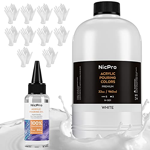 Nicpro White Color Acrylic Pour Paint, 32 Ounce Pre-Mixed Pouring Paint Supplies with Silicon Pour Oil & Gloves for Canvas,Rock,Wood Flow DIY Art Painting