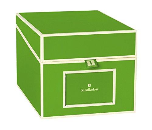 Semikolon (352557) CD und Fotobox lime (hell-grün) - Aufbewahrungs-Box mit 5 variablen Registerkarten - Box im Format 17,7 x 15,7 x 25,6 cm
