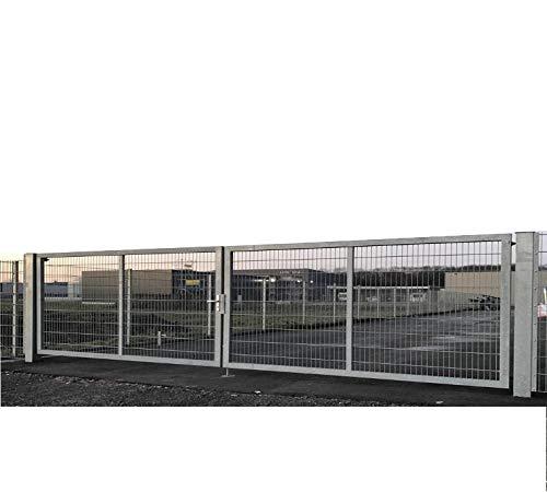 Dubbele vleugelpoort tuinpoort industriepoort mattenpoort inbouwbreedte 900 cm x hoogte 140 cm inrijstpoort voor industrie met bijzonder stabiel frame 100 x 40 mm/palen 100 x 100 mm