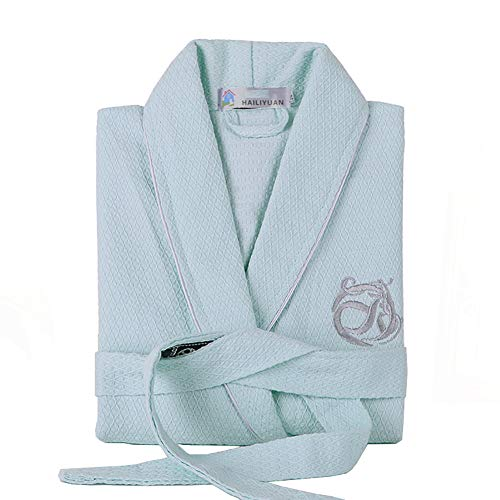 HDL Waffelpique Bademantel, Unisex Baumwolle Long Bademantel Kimono Nachtwäsche...