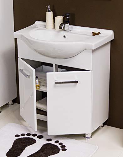 Quentis Badmöbel Tango, bodenstehend, Breite 75 cm, weiß, Waschbecken und Unterschrank, Unterschrank montiert