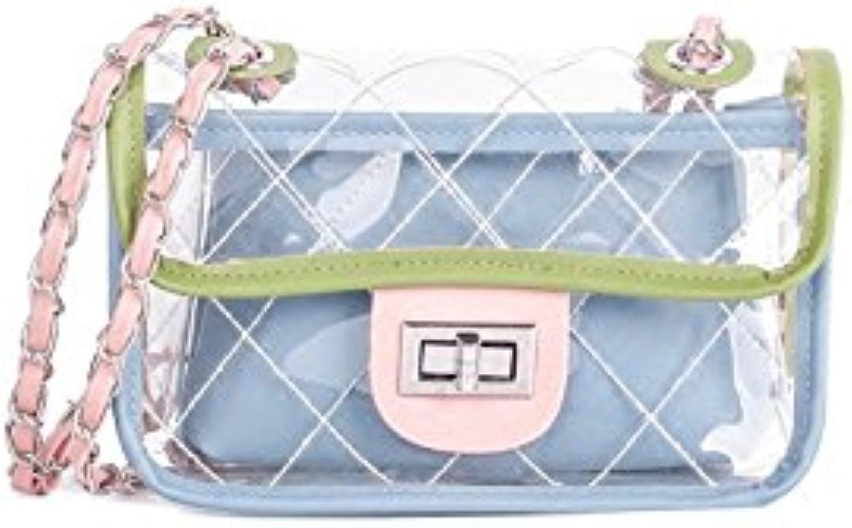 AI BAO Ladies Summer Lingge Chain Bag Transparent Shoulder Bag Mini Oblique Jelly Bag