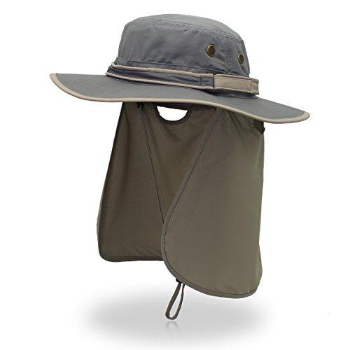 Sonnenhut Sommer von Herren Outdoor UV-Schutz Strandhut Breite Krempe Bucket Hat Faltbarer Safari Boonie Hut Fischerhut mit Verstellbar Gr. Einheitsgröße, Dgrau+Lgrau