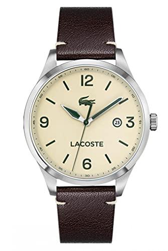 Lacoste Mens Analog Quartz Uhr mit Leder Armband 2011107
