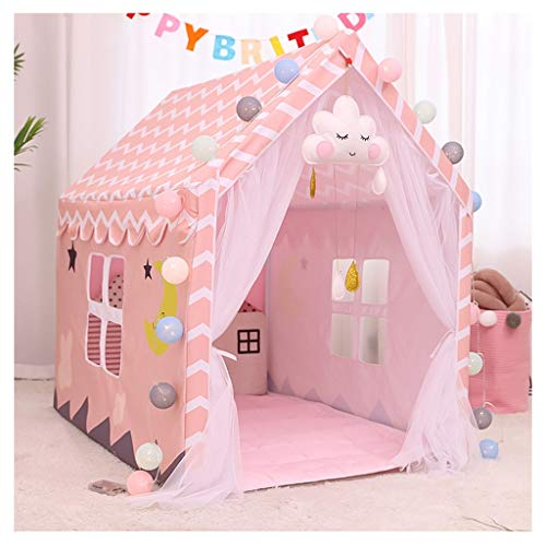 Kid Tent Kids Tent - Indoor Playhouse, PVC Bracket is Easy to Install, Private Children's Castle for Household, 80x120x110cm, 2 Colors (Color : Pink, Size : With mat)