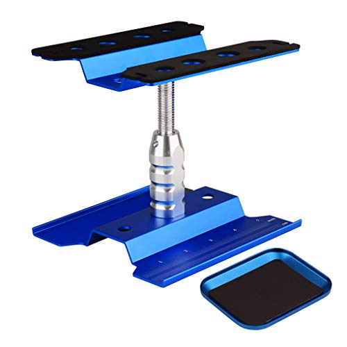 RC Car Repair Work Stand Hobby Tool Set Aluminum Alloy 360 Degree Rotation Lift Work Station with Screw Tray for 1/8, 1/10 Scale RC Car Truck Buggy (Blue)