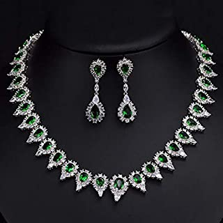 BestGift Shiny Pear Drop Crystal And Cubic Zirconia Party Jewelry Set For Women Luxury Wedding Costume Jewellery