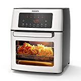 Air Fryer, 1500-W Electric Airfryer, 10-in-1 Cook Presets with LED Digital Touchscreen Rotisserie Oven, Countertop Oven with Convection&Temp, Dishwasher Safe, Recipe Included, Silver, Amaste