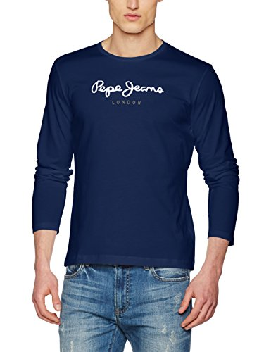 Pepe Jeans Eggo Long PM501321 Top de manga larga, Azul (Navy 595), Large para Hombre