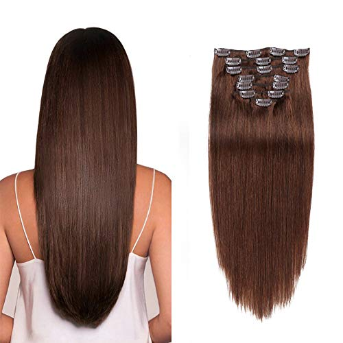 Hair Extensions Clip in Human Hair Double Wefts Medium Brown Human Hair Extensions Straight 8pc (14 inches, 100g)