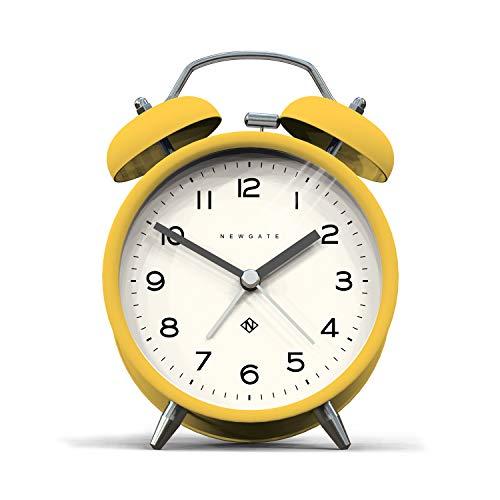 NEWGATE®, Reloj silencioso - Moderna Caja de Color Metal con Martillo clásico y Alarma de Doble Campana HWD 14,5 x 9,7 x 5,5 cm (Amarillo)