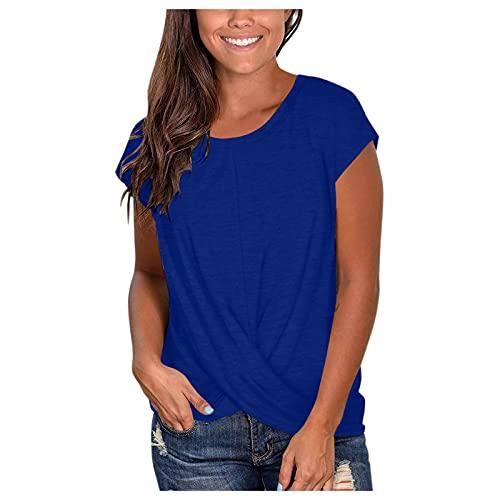 Camiseta Mujer Escote Redondo Manga Cortas Casual Color Sólido Talla Grande Elegante Camiseta de Verano básicas Sueltas con Bolsillo