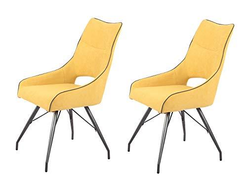 Meubletmoi - Set di 2 sedie in tessuto giallo e gambe in metallo, comfort e qualità, design contemporaneo industriale – ANAïS