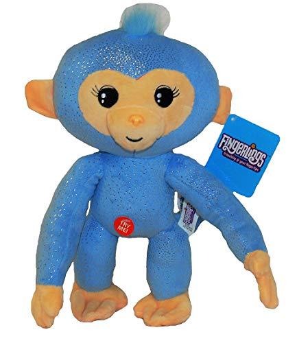 WowWee Fingerlings knuffel aap met geluid 28 cm verschillende karakters voor kinderen (Amelia (blauwe glitter))