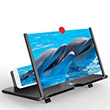 Screen Magnifier Amplifier, 3D HD New Phone Holder Screen Amplifier, Movie Video Phone Amplifier Screen Phone Projector for All Smartphones (Black)