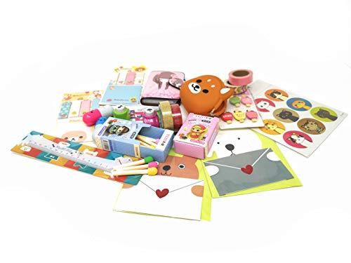 Mignons accessoires Kawaii avec articles RILAKKUMA - Idée cadeau - Gommes allumettes, Stickers, Papier et rubans adhésifs colorés, Porte carte, Mini poinçonneuse, Crayons, etc.
