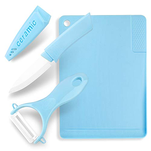 Multi-functional 3-Piece Kitchen Utensils, Ceramic Knives, Peelers, Cutting Boards, Garlic Grinding Area, Matte Cutting Board, Knife Peeler Cutting Board (blue)