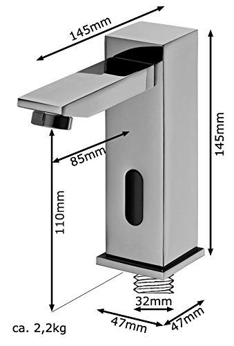 Sanlingo – Infrarotsensor-Waschtischmischer, Temperaturregler, Batterieversorgung, langer Auslauf,  Gold - 6