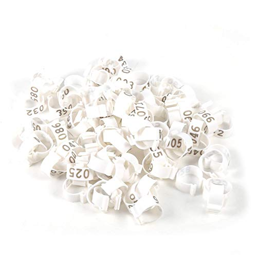 Poultry Leg Rings-100PCS/bag 16MM 001-100 Numbering Plastic Poultry Chicken Duck Goose Leg Band Ring(White)