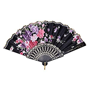 Fan Hand Held – 8 Colors 1pcs Chinese Vintage Fancy Folding Fan Hand Plastic Lace Silk Flower Dance Fans Party – Supplies Cinderella Princess Birthday Summer Year Unicorn Girl Party Mermaid Bl