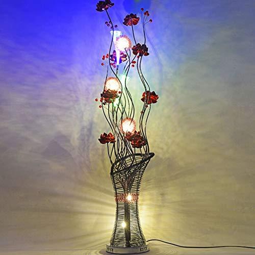 WEM Lámparas de pie para el hogar Mesa de centro de personalidad vertical Aluminio, Florero rural moderno Luz de suelo Protección para los ojos,A