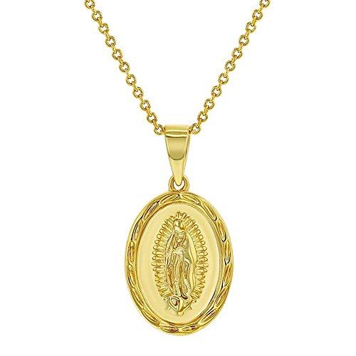 In Season Jewelry Collar con Medalla Católica Virgen de Guadalupe, Chapado en Oro DE 18 Quilates, Diseño Ovalado, 48 cm