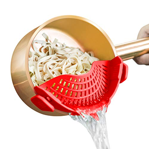 AUOON Strainer with 2 Clip for Veggies Pasta Ground Meat and More for Pots Pans Heat Resistant Silicone, Red