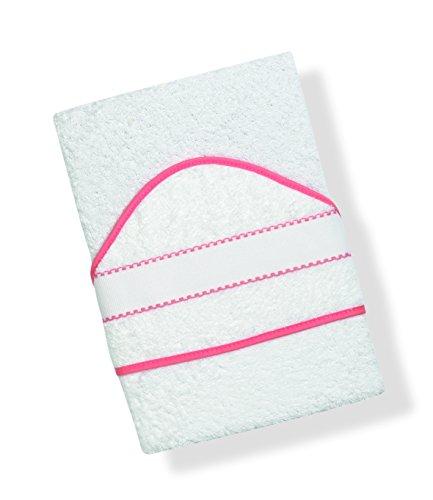 INTERBABY, Toalla de baño bordado de punto de cruz, blanco/rosa (blanco/rosa)