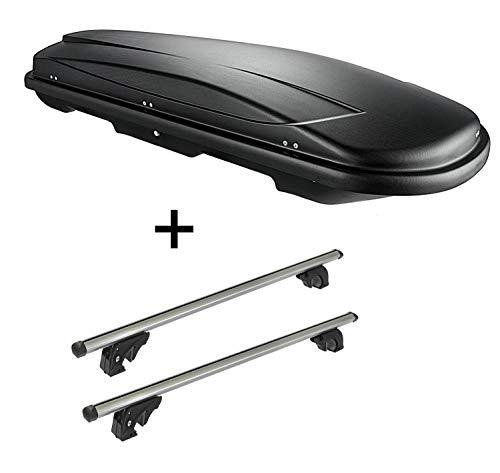 VDP Dachbox VDPJUXT600 600Ltr abschließbar + Dachträger/Relingträger LION2 kompatibel mit Nissan Qashqai (J10) (5 Türer) 06-14