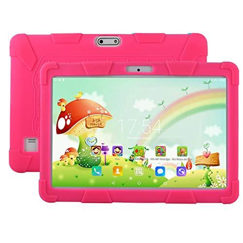 HJGHY Tableta para Niños, Tableta para Niños de 10 Pulgadas Android 5.1 1GB 16GB Tableta de Aprendizaje con Cámaras Duales WiFi Apto para Niños, Funda de Silicona,Rosado