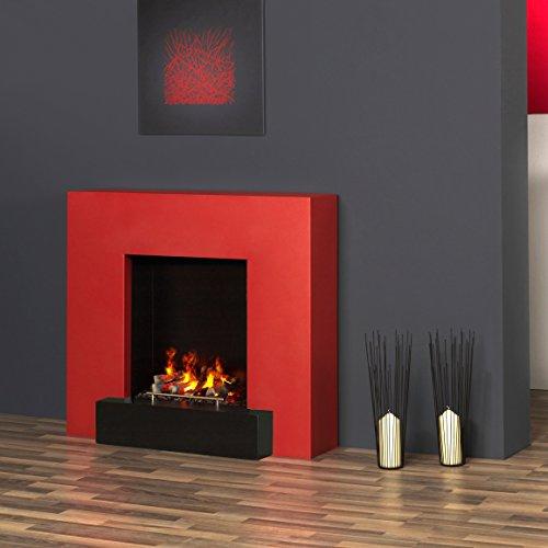 muenkel Design Breeze camino elettrico Opti-myst: Rosso fuoco–X2–senza riscaldamento, con decorazione legno (Juneau)
