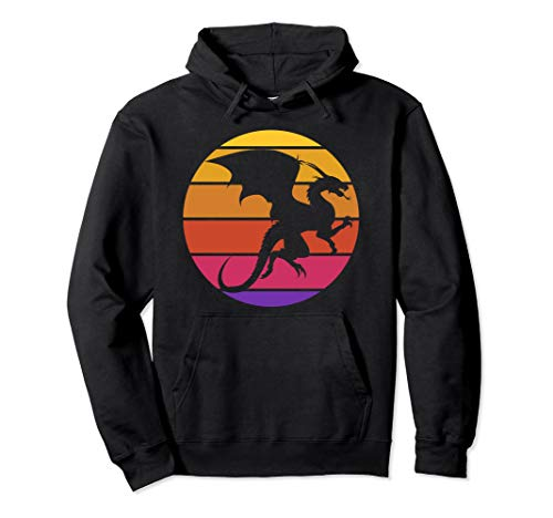 Retro Vintage Dragon Shirt Sunset Dragon Gift Mythical Pullover Hoodie