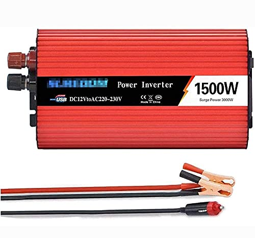 Wxnnx Inversor de Corriente de Onda sinusoidal Pura de 1500W / 3000W DC 12V 24V a 110V 220V AC Convertidor de Voltaje de camión de Coche