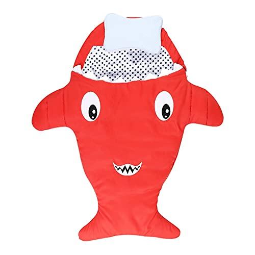 MH-RING Saco de Dormir Invierno Bebe, Saco Dormir Bebe Recien Nacido Tiburón Algodón Cremallera Transpirable Súper Suave Cálido Saquito de Dormir (Color : Red)