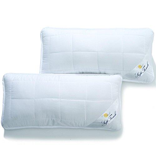 aqua-textil Soft Touch Kopfkissen 2er Set 40 x 80 cm Mikrofaser Nackenkissen Hohlfaser Kissen Kochfest atmungsaktiv