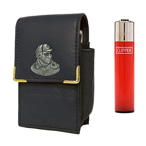 Portasigarette con accendino a gas con design di Sherlock Holmes