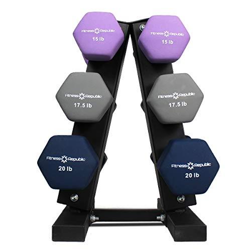 Fitness Republic Neoprene Dumbbells Pairs (15lb, 17.5lb & 20lb) with 3 Tier Rack