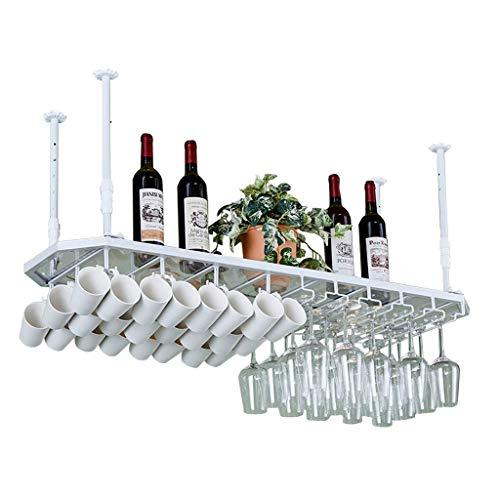 GDSKL Estante para vinos Estantes para copas, pared para colgar en el techo, botella de vino, copa, taza, unidad organizadora de...