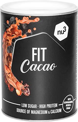 nu3 Fit Cacao Drink 300g - High Protein Kakao mit 18g Protein pro Portion aus Milcheiweiß, stark entöltes Kakaopulver ohne Zuckerzusatz - enthält die Vitalpilze Reishi, Chaga und Ashwagandha