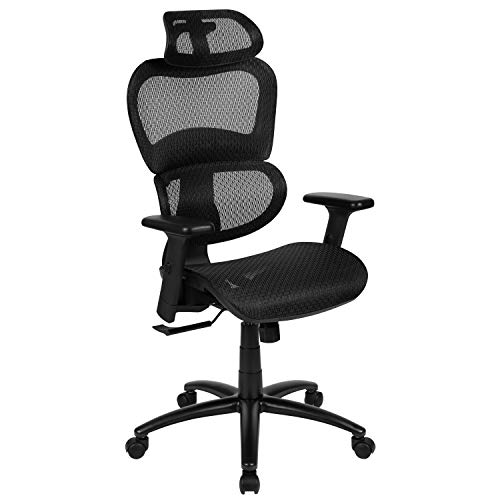 Flash Furniture Ergonomic Mesh Office Chair with 2-to-1 Synchro-Tilt, Adjustable Headrest, Lumbar Support, and Adjustable Pivot Arms in Black