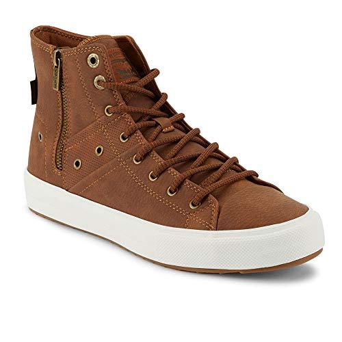 Levi's Mens Zip Ex Casual Mid-Top Fashion Zipper Sneaker Shoe, Tan/Brown, 9 M