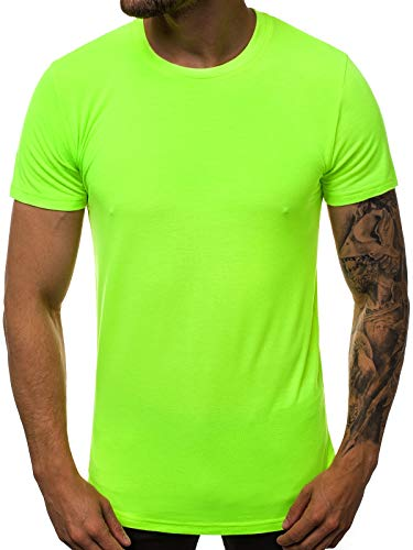 OZONEE Herren T-Shirt Kurzarm Basic Shirt Rundhals Figurbetont O/181227X GRÜN-NEON M