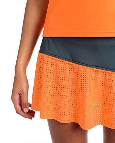 IDAWEN - Falda para Padel o Tenis Deportiva para Mujer - Falda para Mujer con Short Deportivo - Ropa Deportiva de Mujer - Falda de Deporte de Mujer - Color Gris y Naranja - Talla M